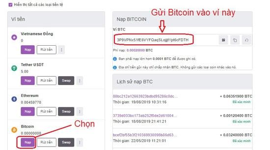 gửi bitcoin và altcoin vào remitano