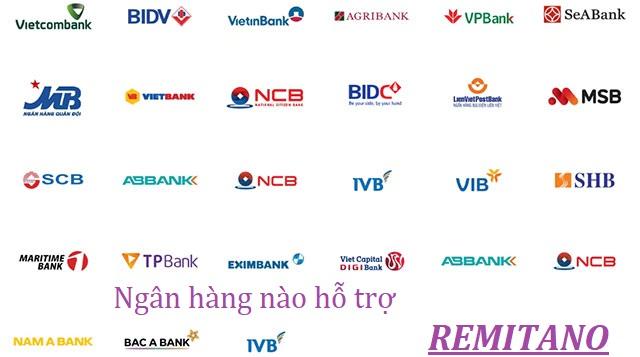 ngân hàng hỗ trợ nạp rút tiền trên remitano