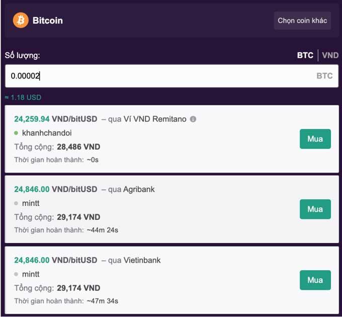mua bán bitcoin với số vốn nhỏ qua remitano